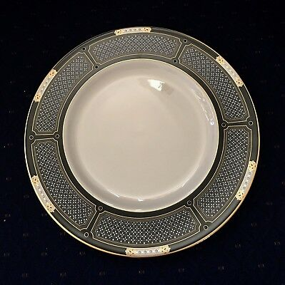 NWT Lenox Hancock Gold Black Banded ACCENT Plates Set of 4 Ivory China