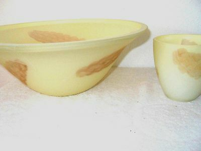 Vintage Art Deco Pale Yellow Frosted Heavy Glass Lamp Shades