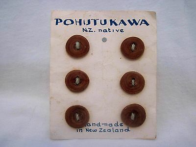 Lot Of 6 Carded Handmade New Zealand Native Wood Buttons