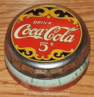"VINTAGE 1997 ""DRINK COCA~COLA 5c"" COKE BOTTLE CAP TIN 1-3/4""x3-3/8"""