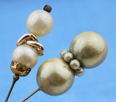 Vintage Hat Pins 2 Faux Pearl 50s 1950s 40s 1940s Hatpin Accessories