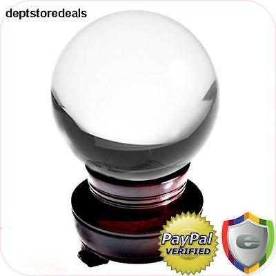 Clear Crystal Ball 150mm (6 in.) w/ Wooden Stand Box Quality Touch Elegance Room