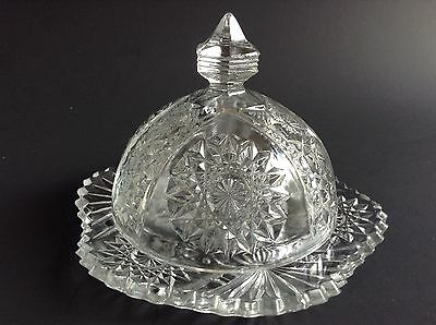 Vintage Pressed Glass Dome Top Butter Dish Sawtooth Edge
