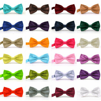 Men's Silk Satin Bow Tie Solid Colour Pre Tied Bowtie Necktie Tuxedo Wedding