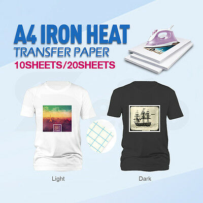 10/20 sheets A4 Iron Heat Transfer Paper For The Light & Dark Cotton T-shirt New