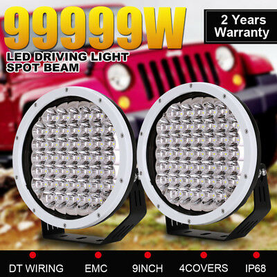"""99999W 9"""" Cree Round LED Driving Spotlight White Work Lamp 4WD Offroad Truck New"""
