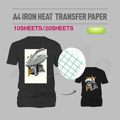 10/20 sheets A4 Iron Heat Transfer Paper For The Dark Cotton T-shirt