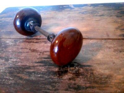 Vintage Polished Finish Stone? Glass? Doorknobs Heavy Metal Hardware Brown Red