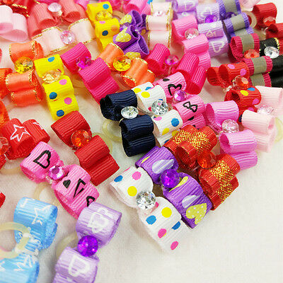 10-100PCS 3D Small Puppy Pet Dog Rhinestone  Hair Bow Rubber Bands Grooming