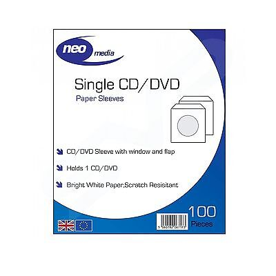 Neo Media Paper Cd/dvd Protective Sleeve / 100 Per Pack