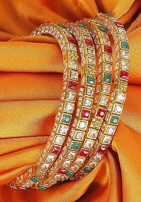 Indian Bollywood Partywear Traditional Beautiful 4 Pcs Polki Bangles Jewelry