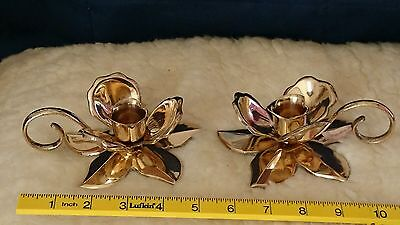 Vintage Indian Brass Flower Candle Holders With Handles. Exquisite & Collectible