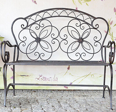 Victorian romantic metal bench seat 2 seater patio chic vintage antique brown094
