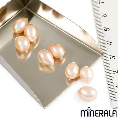 [WHOLESALE] NATURAL FRESHWATER PINK DROP PEARL HALF DRILLED 8mm