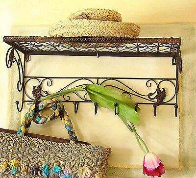 Shabby Wall Coat Rack Hanger Holder Metal Shelf Retro Vintage Antique Brown