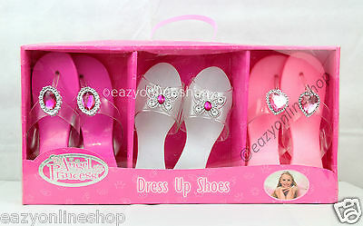 New Present Girls Fancy Dress Up Kids Slip On Shoes 3 Pairs Angel Princess Toy