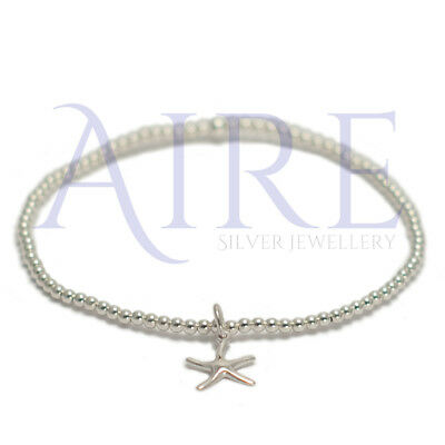 925 Sterling Silver- Stretch 2mm Stunning Ball Bracelet with starfish charm