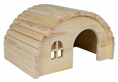 Curved Roof Pine Lodge Wooden House for Guinea Pigs, Rats, Degus & Small Rodents