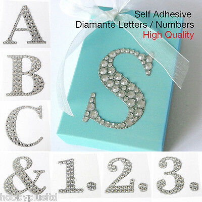 5.5cm Large Self Adhesive Letters Numbers Diamante Favour Post Box Embellishment