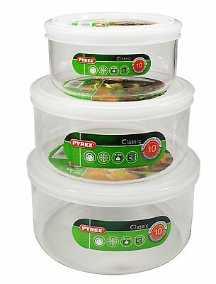 Pyrex Set of 3 Round Dishes with Plastic Lids,12cm (0.5L),15cm (1.1L) 16cm (1.6)
