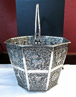 Antique Chinese Silver Orange Peel Repousse'  Basket / Bucket 1900