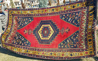 Authentic 1900-1930s Antique Natural Dyes 4'8''x9' Tribal Patterned Rug