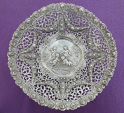 Antique REPOUSSE 800 SILVER Ornate Bowl CHERUBS ROSES 328.0 grams