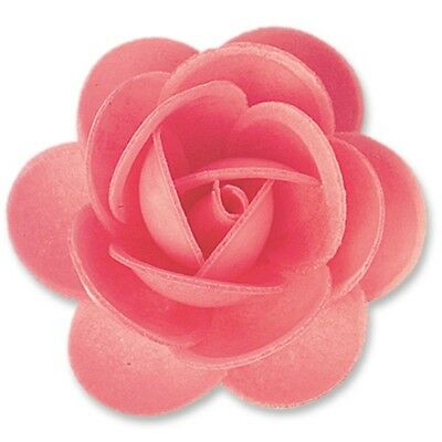 Edible Wafer Pink Roses Large Cake Cupcake Decorations Toppers Sprinkles Baking