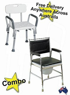 Aluminium Shower Chair stool and Discreet Beside Commode Combo.