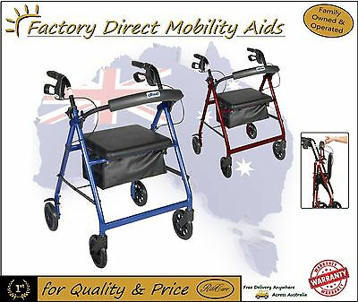 "4 Wheel Rollator Walker with 6"" Wheels under seat bag Mobility aid"
