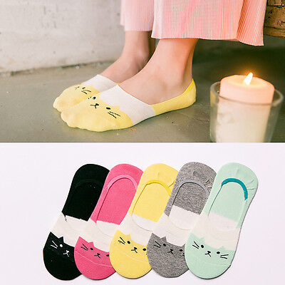 5Pairs Soft Women Lady Girl's Cotton Cartoon Cat Low Cut No Show Invisible Socks