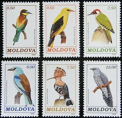 Moldova 1992 - Scott Cat 31 thru 36 - Mint Never Hinged - MNH Colorful Birds Set