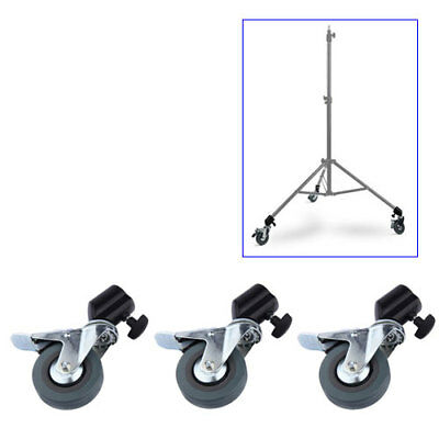"3PCS Studio Photography Tripod Easy Swivel Caster 3"" Wheel for Light Stands Boom"