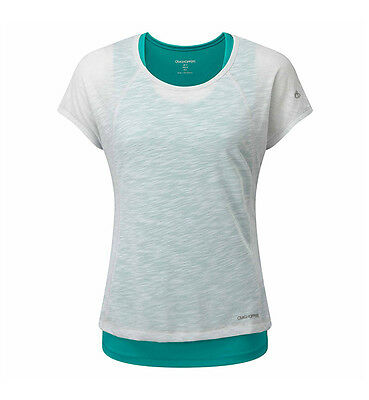 Craghoppers Womens Pro Lite 3 in 1 Sports Gym T-shirt in Grey / Turquoise