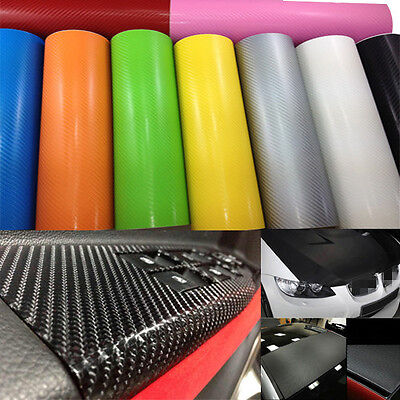 "12""x50"" 3D Texture Carbon Fiber Wrap Vinyl Decal Car Sticker Sheet 30x127cm"