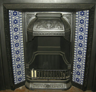 Pugin Gothic Fireplace Tile Set Ref 001 Blue