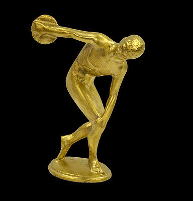 Ancient Greek Discus thrower artifact sculpture statue polished bronze miniature