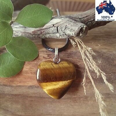 TIGERS EYE Heart Crystal Gemstone COURAGE ~ STRENGTH ~ POWER Pendant Necklace