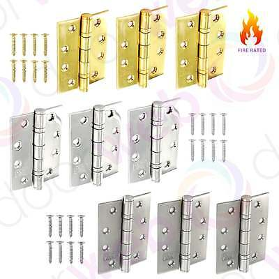 3 x DOOR HINGES FIRE RATED Ball Bearing Butt Hinge Grade 13 STAINLESS STEEL 4x3""