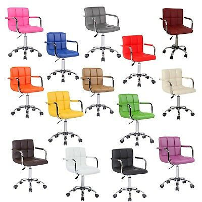 Faux Leather Swivel Office Wheels Chair Computer Desk Studio Salon Barber Stool