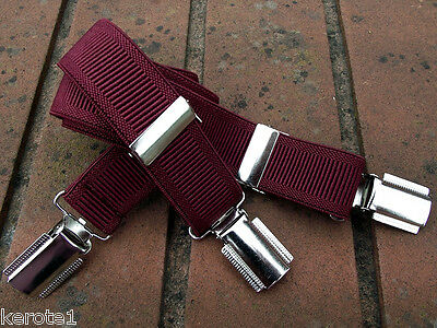 Child Trousers Braces Burgundy (Wine) Smart Dress n Casual 25mm 3 Clasps