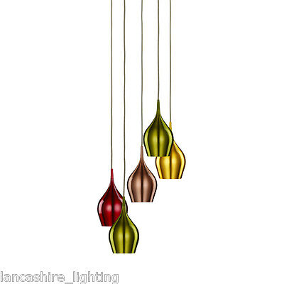 Searchlight 6465-5 Vibrant 5 Light Pendant Anodised Aluminium Finish