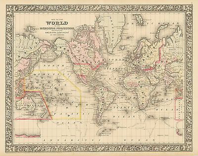 HJB-AntiqueMaps : 1860 Map of the World by Mitchell