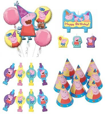 Peppa Pig Birthday Combo Bouquet Balloons + Cake Candle + Party Hats + Blowouts