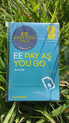 EE £15 Pack Pay As You Go Sim Card - Standard, Micro & Nano