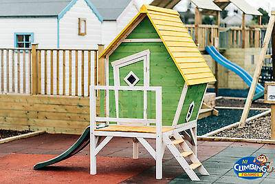 Wooden Crooked Children's Playhouse with Slide, Outdoor fun climbing frame slide