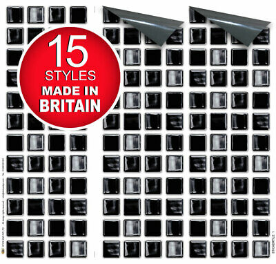"9 Tile Transfer Stickers 4""x4"" BLACK MOSAIC for Kitchen & Bathroom tiles"