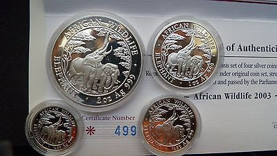 2003 Zambia 5000 Kwacha Elephants Silver Proof Coin set w/ CoA and OGP RARE!!!