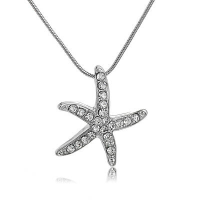 925 Silver Plated Starfish Necklace Crystal Chain Women Jewelry Pendant Gift