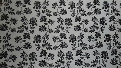 Dolls House Emporium Wallpaper 1:12th Scale Black Floral Wall Paper 2861